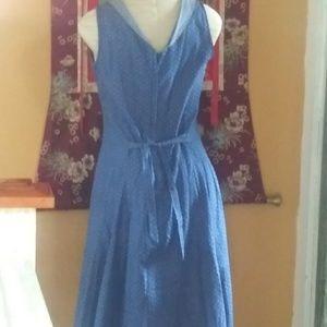Heart of Haute Dresses - Heart of Haute Blue Polkadot Sleeveless Dress L